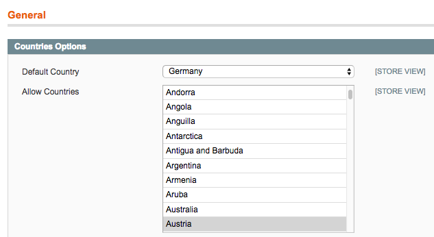 Country list configuration in the backend shows a filtered list